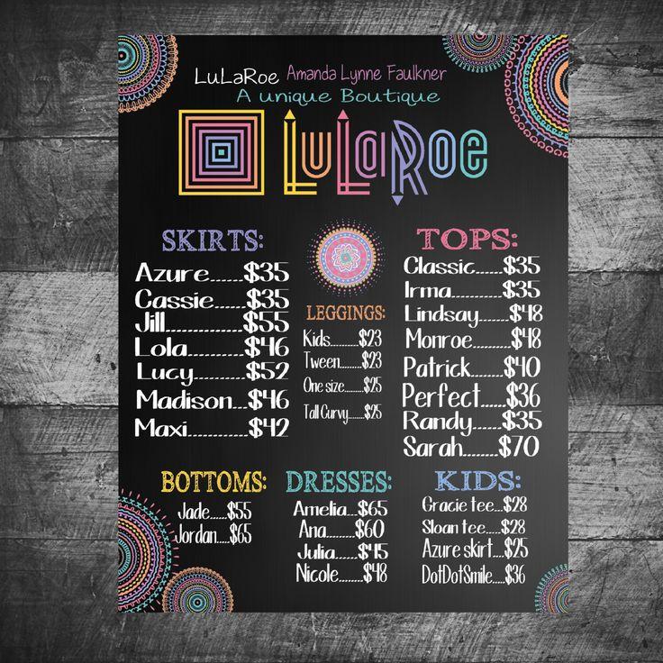 LuLaRoe Price List Poster, Custom LuLaRoe Seller chalkboard, LuLaRoe Skirts Dresses Shirts and Leggings Price List Sign, PRINTABLE Digital by MichelleRayeDesigns on Etsy https://www.etsy.com/listing/386814752/lularoe-price-list-poster-custom-lularoe