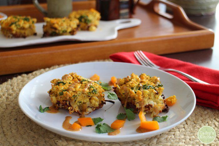 These breakfast nests were inspired by a dish at A.N.D Cafe in Portland. They are made with a layer of hash browns and topped with tofu scramble.
