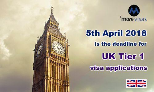 5th April 2018 is the Deadline for UK Tier 1 Visa Applications. Read more... https://goo.gl/3pNomB #MoreVisas #UKTier1Visa #Tier1Generalvisa #Tier2Visa  #UKVisa #UKImmigration #MigratetoUK #Tier1Visa https://www.morevisas.com/immigration-news-article/5th-april-2018-is-the-deadline-for-uk-tier-1-visa-applications/5482/