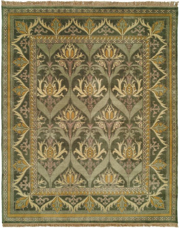Modern hand-knotted reproduction Craftsman rug. MEADOW MEDE   However the design is obviously influenced by great arts & Crafts innovators such as, William Morris . The stylized artistry of the flower and vine motif is reminiscent of the original Donegal carpets.