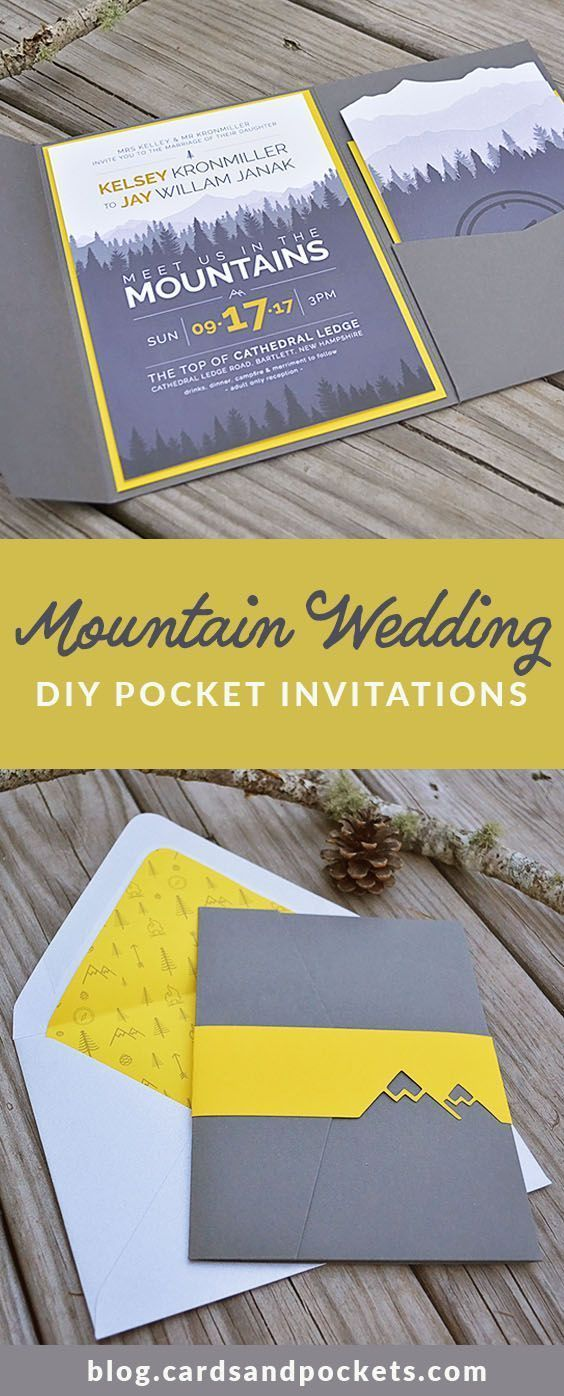 funny wedding invitation rsvp goes viral%0A Super modern and fun DIY pocket invitation for a mountain or forest wedding   Using yellow