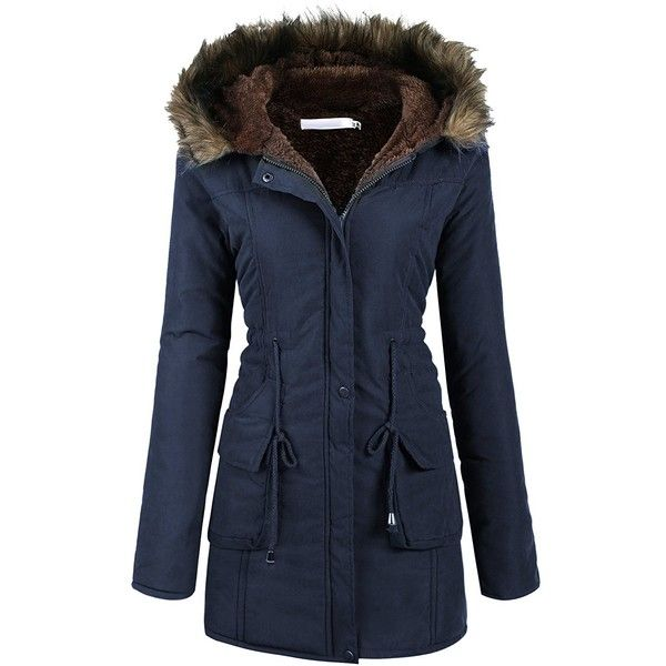 Beyove Womens Military Hooded Warm Winter Faux Fur Lined Parkas... ($74) ❤ liked on Polyvore featuring outerwear, coats, hooded parka, military-style coats, faux fur lined hooded coat, military coats and blue military coat