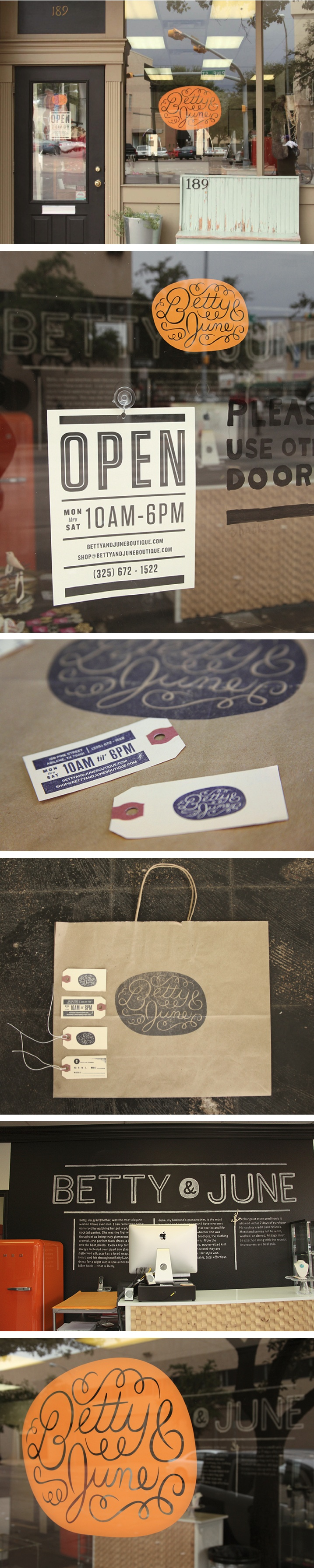 Betty & June branding by Ryan Feerer #shop #window #sign #logo #branding