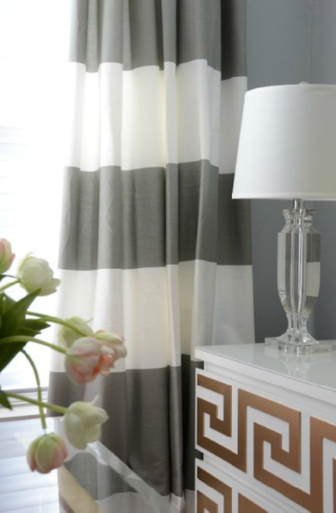 Exceptional White Gray Horizontal Striped Drapes, Crystal Lamp Greek Key Design On  Chest Of Drawers