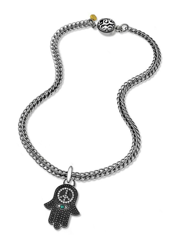 Lilly Street Sterling Silver Diamond Hamsa Evil Eye Pendant Necklace at London Jewelers!