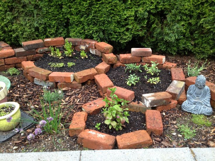 Round brick garden dream garden pinterest gardens for Brick flower garden designs