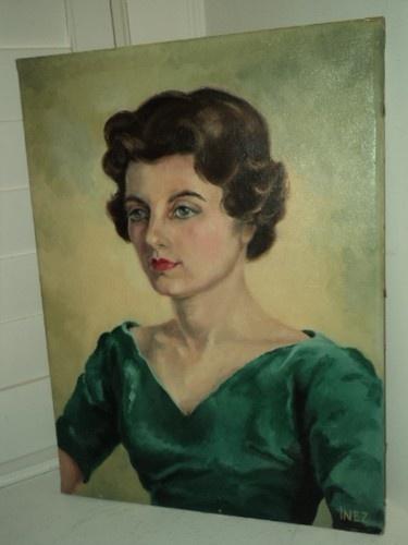 VINTAGE Portrait Woman 1960's Brown Hair Blue Eyes MID-CENTURY Original Oil | eBay