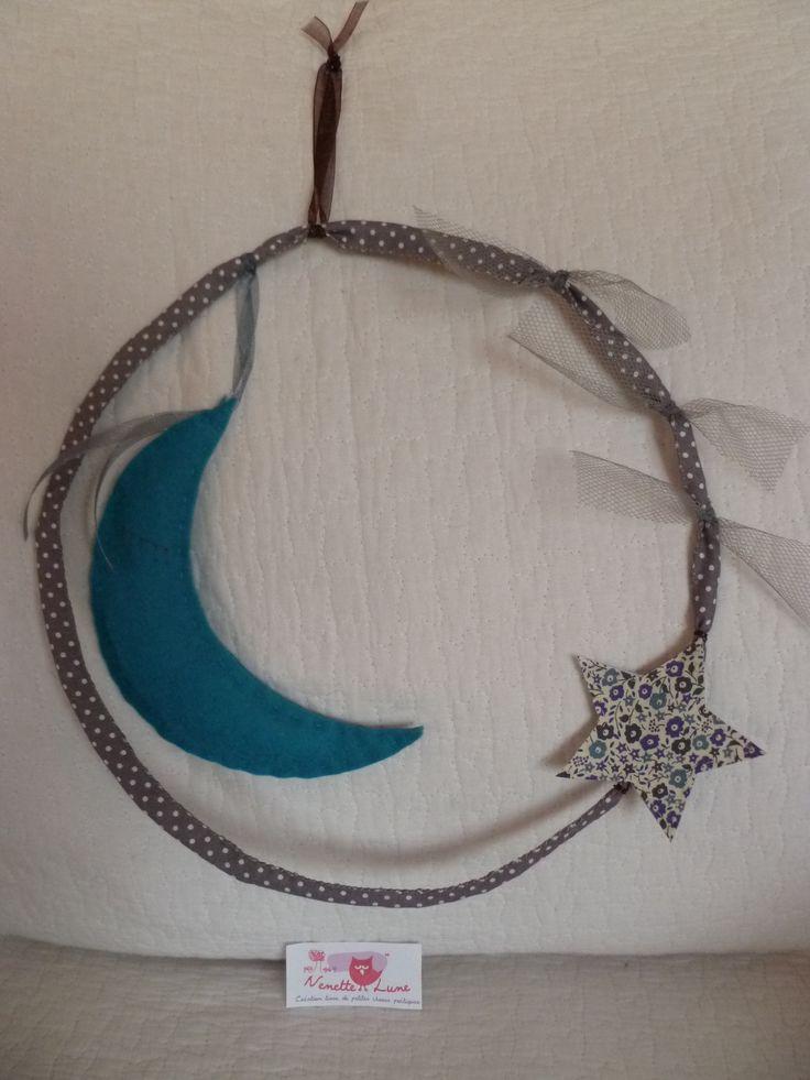"""mobile """"Lune, tulle, étoile liberty"""" ton bleu et gris"""