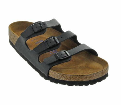 Birkenstock brings us the Florida sandal in Black. The fun floral pattern makes them a seasonal favorite. These feature three straps from the bottom of your toes to your instep that keep you secure, b