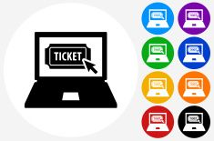 Online Ticket Purchase Icon on Flat Color Circle Buttons vector art illustration