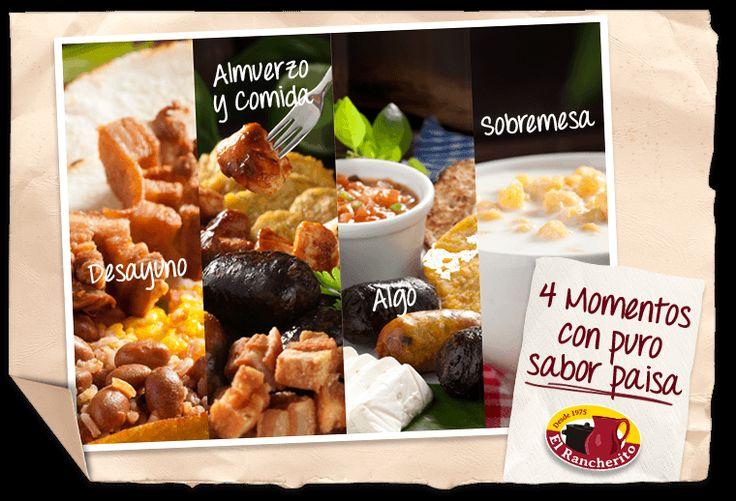 Disfruta de nuestros 4 momentos de puras #Delicias de Colombia. http://elrancherito.com.co/