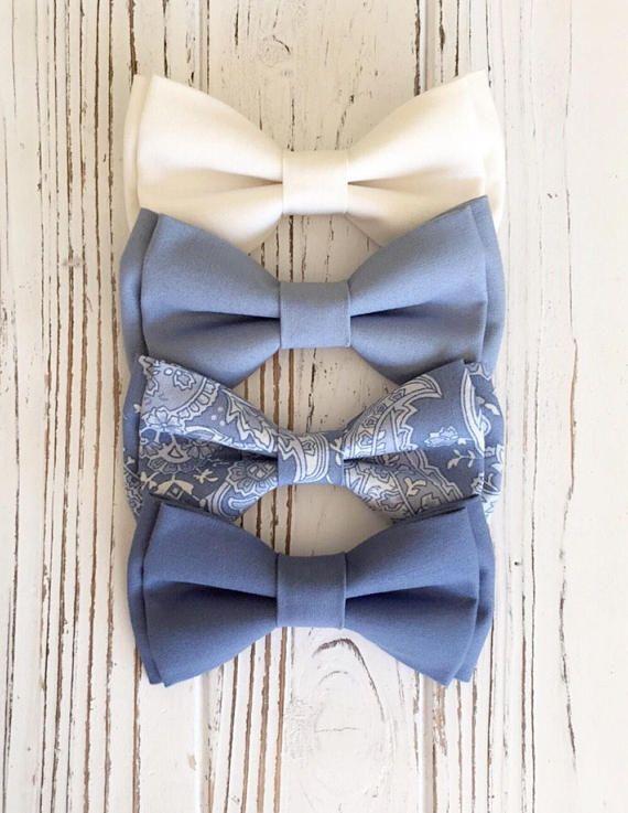 Father Son Men Boy Match Dusky Dusty Blue Blush Blue Cotton  Bow Tie Bowtie