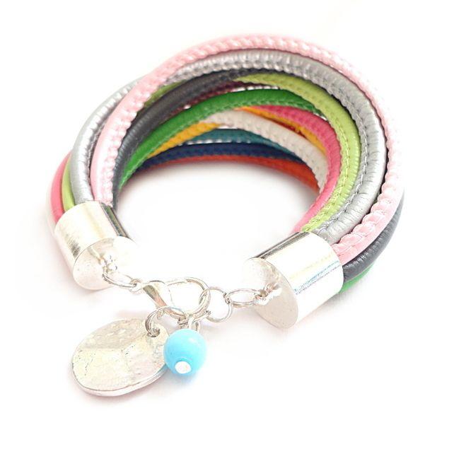 Multicolor Rainbow Faux Leather Straps Bracelet
