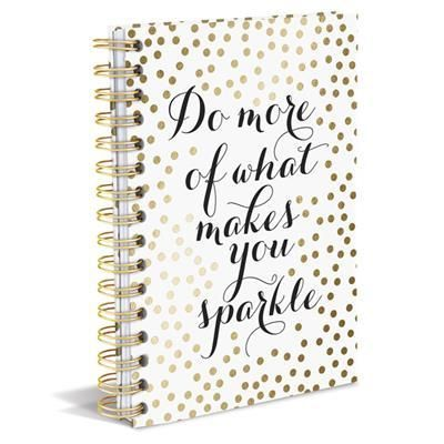 Do More of What Makes You Sparkle Spiral Notebook in White with Gold P – The Bullish Store #gold #polkadots #getbullish #journal #backtoschool