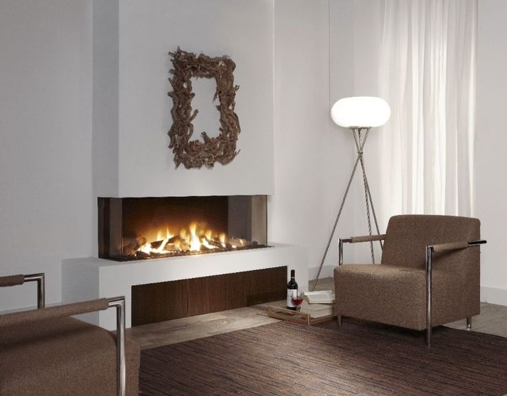 Gas fireplace / 3-sided / closed hearth / contemporary - TRISORE ...