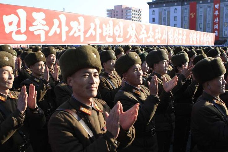 North Korean military personnel celebratein Kim Il Sung Square in Pyongyang Jan. 8, 2016, afterNorth Korea said it conducted a hydrogen bomb test.