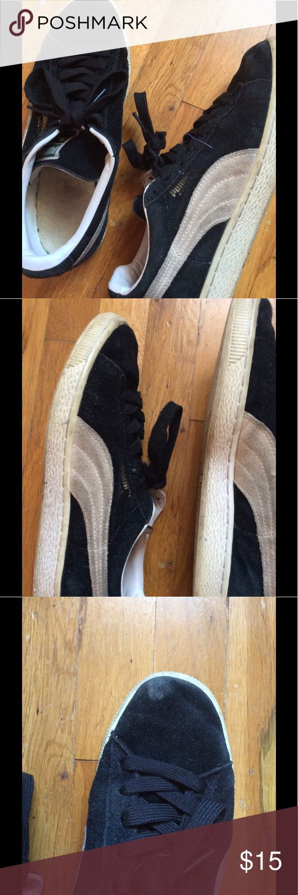 Puma Suede Classic Black : Pre owned Black Puma Shoes . Men Sizes 8.5 | Womens 10 . I owned these for a long time , but these can be cleaned up the right way Puma Shoes Sneakers