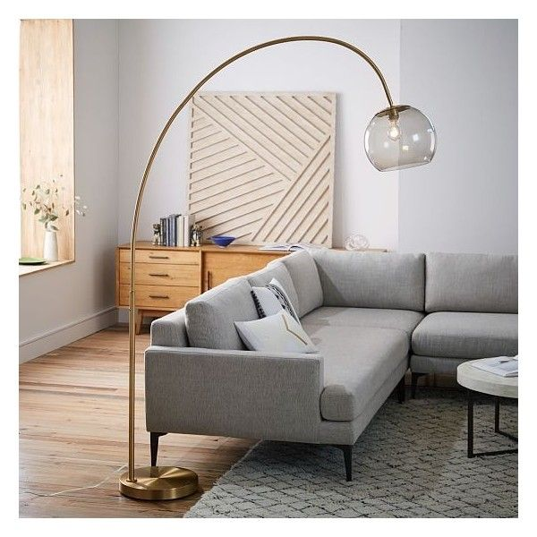 West Elm Overarching Acrylic Shade Floor Lamp, Brass/Smoke Acrylic ($299) ❤ liked on Polyvore featuring home, lighting, floor lamps, arc light, solid brass floor lamp, brass light, modern floor lamps and west elm lighting