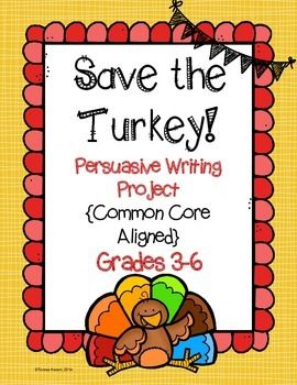 Challenge your students to write persuasively with this fun and engaging writing lesson. Students will write from the perspective of a turkey and convince people to eat a different main course this Thanksgiving season.