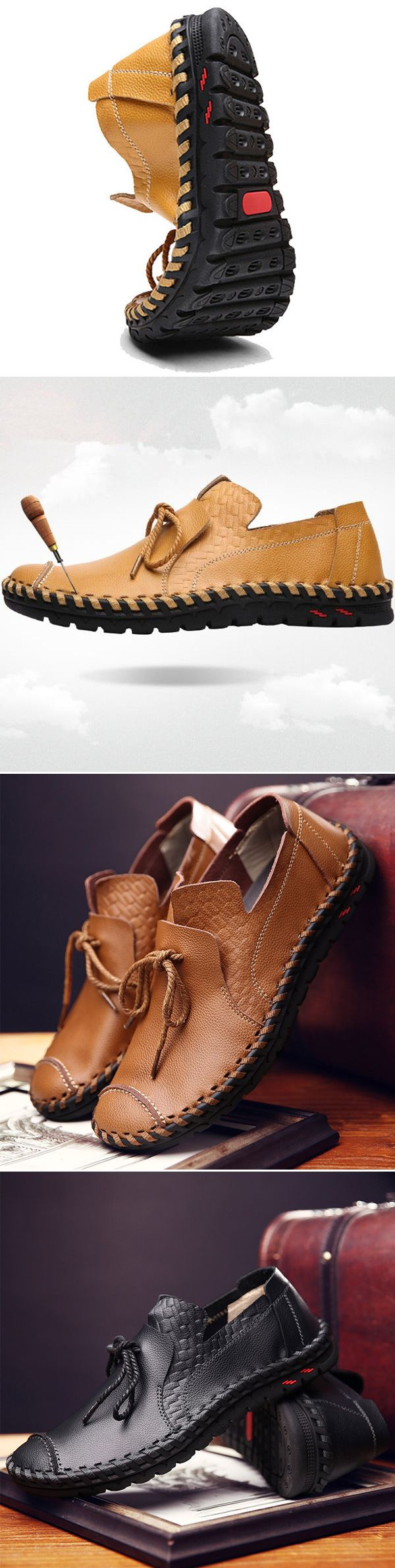 US$S39.98(48% OFF)#Men's Stitching Soft Sole Lace Up Decoration Casual Driving Loafers