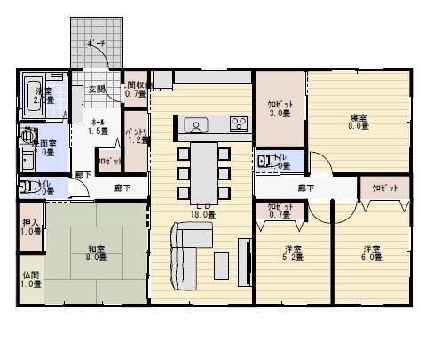 34坪4LDK、8畳の仏間のある平屋の間取り   平屋間取り