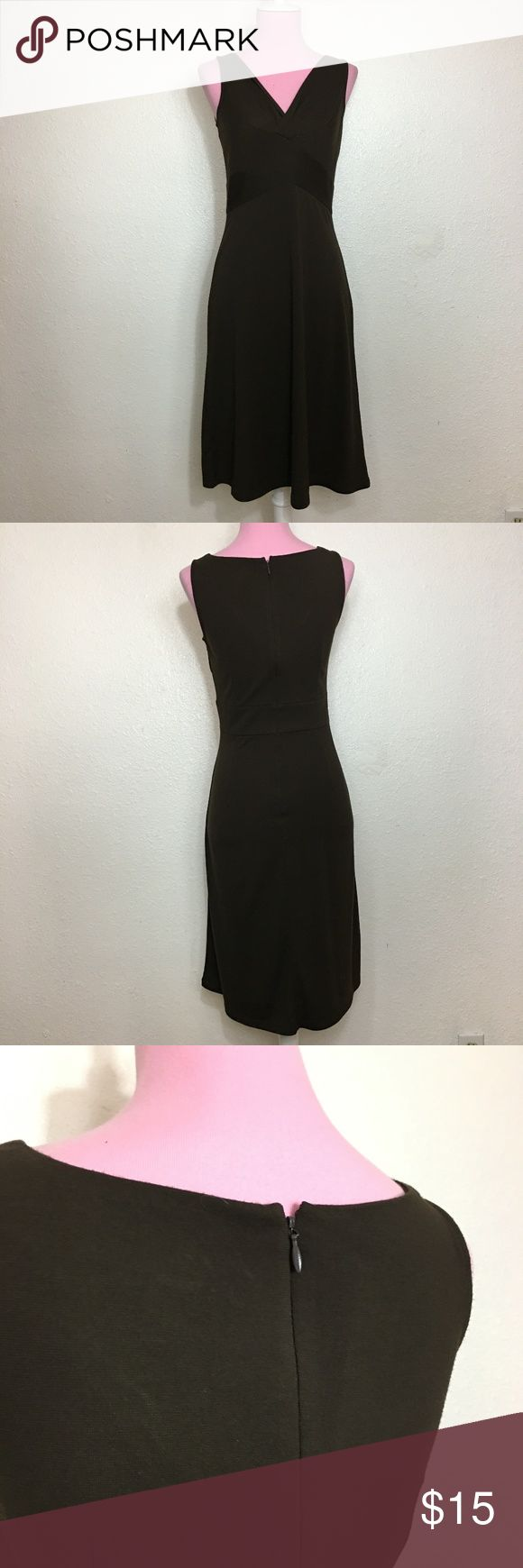 Ann Taylor LOFT brown petites dress No sleeves Zips and hooks in the back Bust part slightly crosses a little  Approximate measurements in inches: Armpit to armpit: 15 Shoulder to shoulder: 11 /2 front Shoulder to hem: 37  ****Mannequin in a 6/8. Offers on bundles are considered LOFT Dresses
