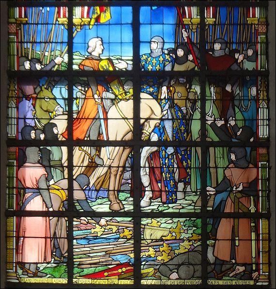 Le comte Mathieu de Montmorency ayant déposé, à l'issue de la bataille, 12 bannières surmontées de l'aigle germanique aux pieds du roi de France, celui-ci l'autorisa les ajouter aux quatre que portaient déjà les Montmorency. Pour découvrir les magnifiques vitraux de l'église de Bouvines, cliquez sur cette image !