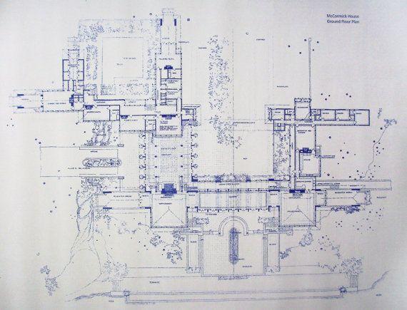 Frank Lloyd Wright McCormick House Blueprint by BlueprintPlace, $18.99