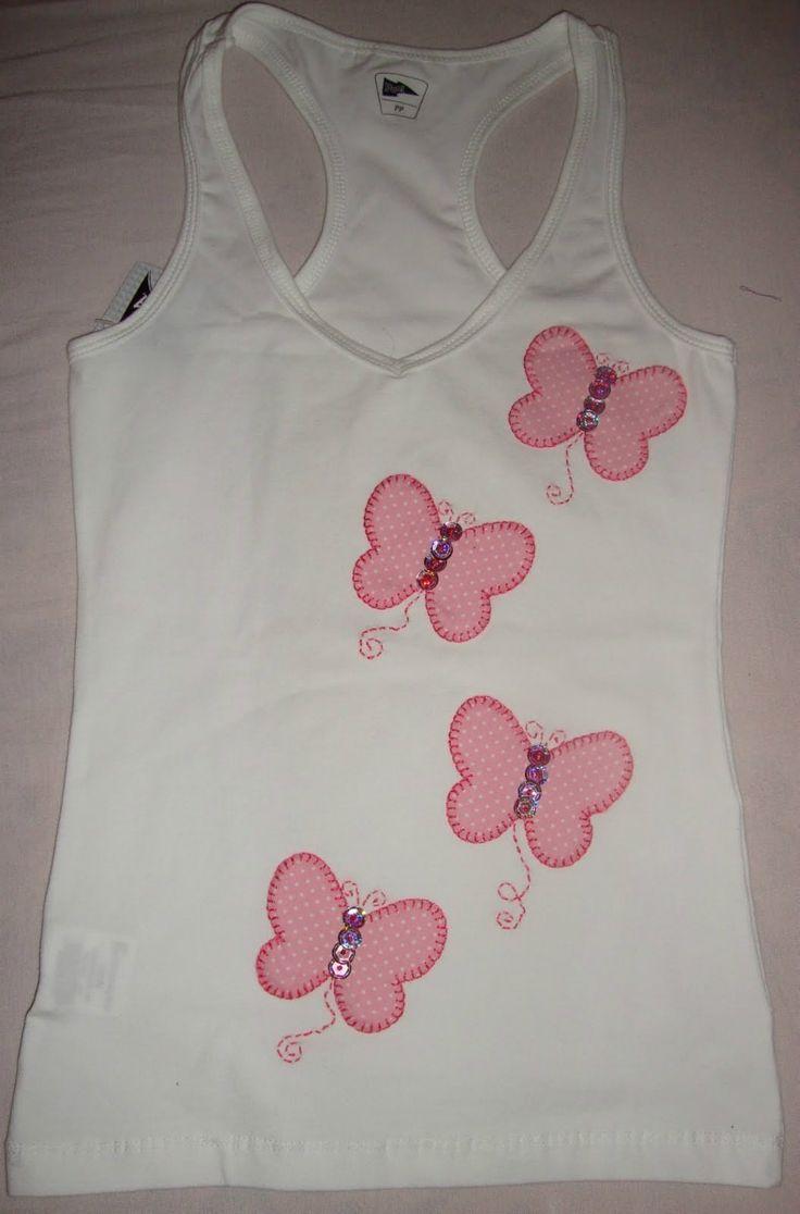 Camiseta ( Baby Look ) Nadador, Bordada Em Patchwork - R$ 30,00 no ...