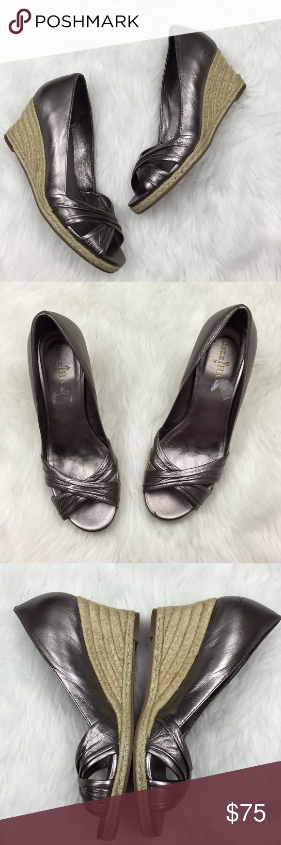 🌞Cole Haan Metallic Dark Silver Espadrille Wedges Cole Haan Women's Nike Air Metallic Dark Silver Espadrille Wedges Size 7.5  This has been gently worn with no major flaws.  There may be minor scuffing. Please refer to photos for more details. Cole Haan Shoes Wedges