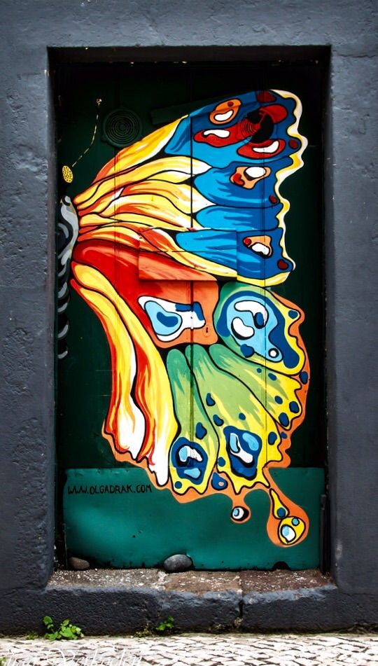 Funchal, Madeira, Portugal. Bright colourful, butterfly wing painted on the door.