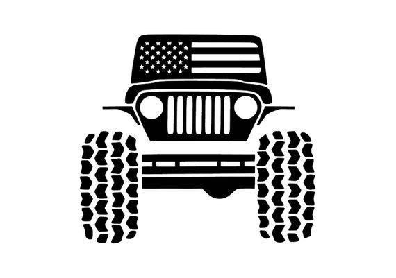 Jeep W American Flag Decal In 2020 American Flag Decal Flag Decal Cricut Vinyl