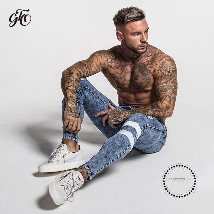 3d3a1766c New Men Skinny Jeans Slim Fit Stretchy Blue Big Size Cotton Lightweight  Comfy Hip Hop White Tape