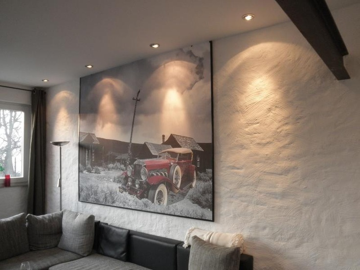 wandgestaltung mit grobem putz und wandbild oldtimer im schnee vom malerbetrieb acken van in. Black Bedroom Furniture Sets. Home Design Ideas