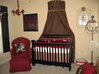 Vintage Wild West Lone Star Western Cowboy Style Nursery Theme in Burgundy, Red and Brown: I have always wanted a  Cowboy style nursery theme for my little boy. I love the way the baby bed is the focal point of a room, so I wanted to create something