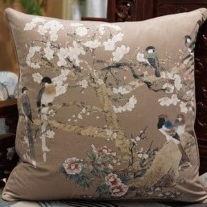 """Luxury Brown Bird Printing Pillow 20""""X20"""" (a-no insert (cover only)), Size 20 x 20"""