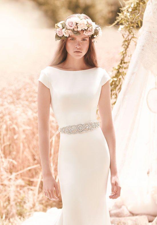Mikaella gown with sheath silhouette, bateau neckline, cap sleeves, and beaded organza sash I Style: 2061 I https://www.theknot.com/fashion/2061-mikaella-wedding-dress?utm_source=pinterest.com&utm_medium=social&utm_content=june2016&utm_campaign=beauty-fashion&utm_simplereach=?sr_share=pinterest