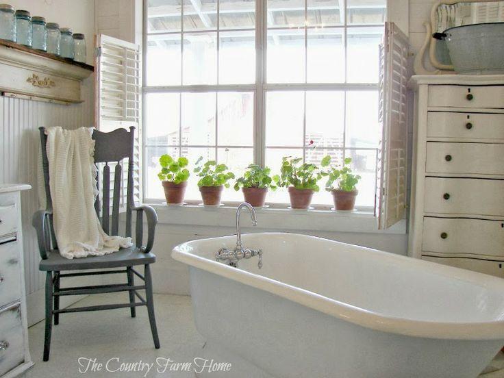 The country farm home a simple farmhouse bath b a t h for Farm bathroom