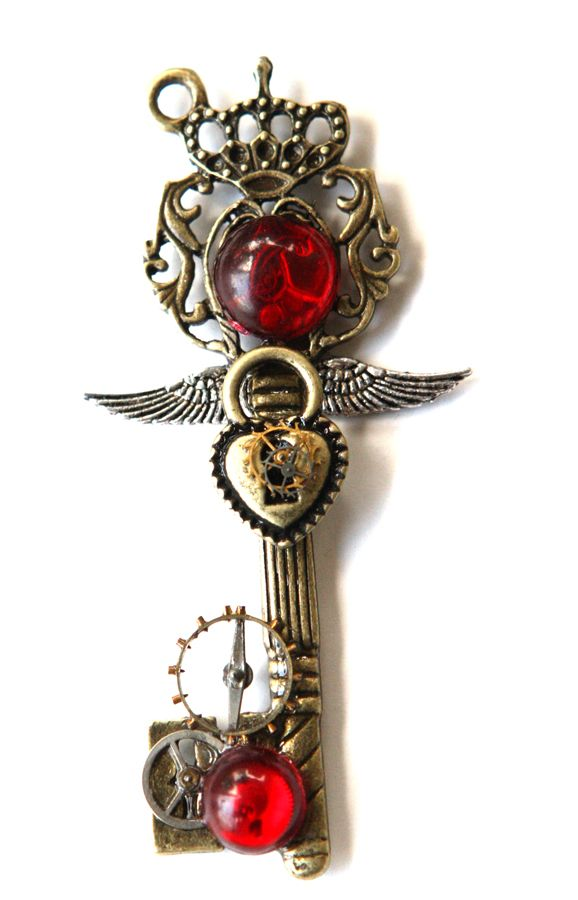 Is there anything a little collage jewelry can't fix?  Flying steam punk key