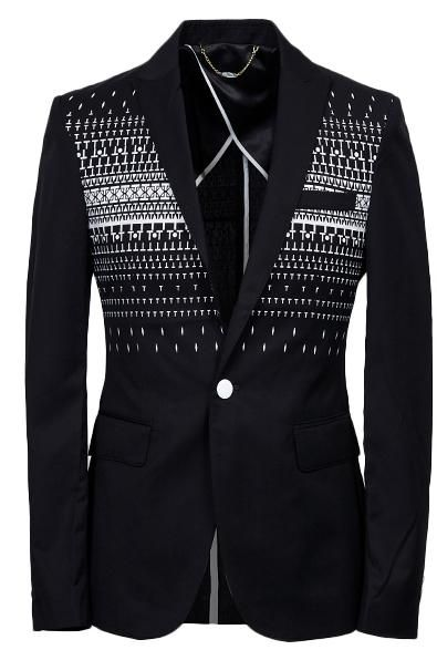 WOW! Geometric Black Blazer For Men -  THIS IS FASHION!