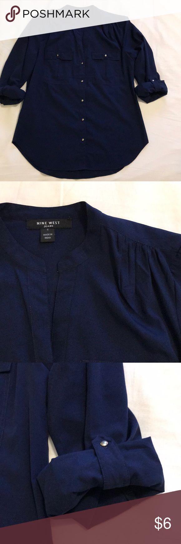 Nine West Jeans button down blouse Fabulous go to button down blouse. Polyester. Excellent condition. Wash cold, line dried. Smoke-free and pet-free home. Nine West Tops Button Down Shirts