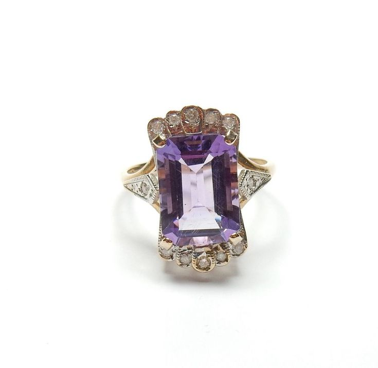 9 Carat Yellow Gold Amethyst And Diamond Art Deco Style Large Cocktail Ring 5.4g #Cocktail