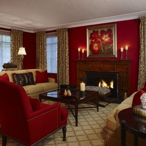 Vibrant red living room Designed by Mary Antenucci Interiors LLC