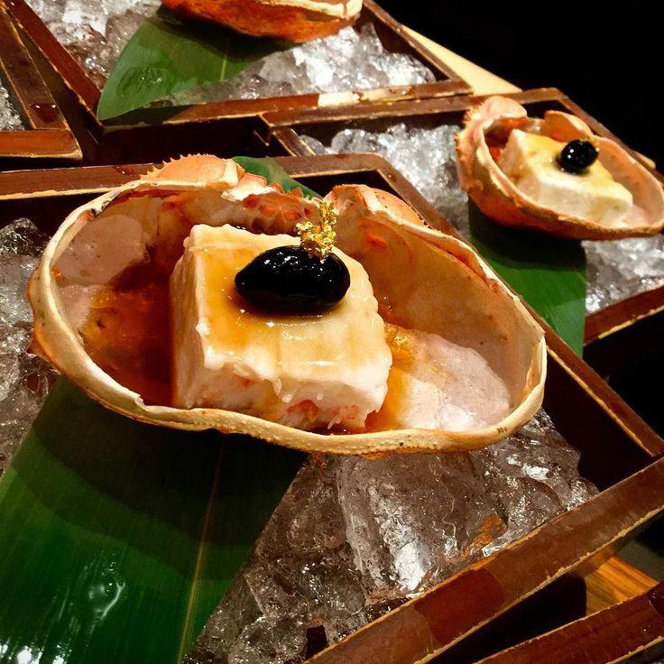 Abes Kitchen Counter @ EN Japanese Brasserie. Kani Peanut Tofu (Peanut Tofu with Hokkaido Snow Crab) by Talented Executive Chef Abe Hiroki.  #snowcrabs #tofu #peanuttofu #delicious #kaiseki #omakase #foodpic #foodgasm #sake #beers #wine #visual_magic #newyork_instagram #photoartist #artistic #visual_heaven  #chefs #instagood #photooftheday #shadowandlight #shadow #lights by ken_hikofu