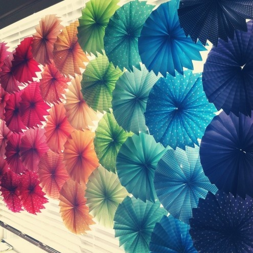 paper flowers made of scrapbook paper. Combine this idea with the paper umbrella wreath and you can customize the color scheme of your wreath. BABY SHOWER IDEA?