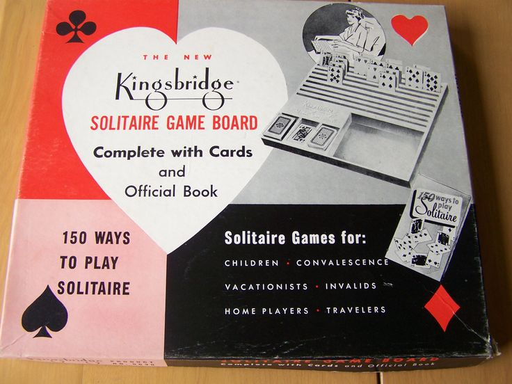 Vintage 1950 Kingsbridge Solitaire Game Board - includes cards and book 150 Ways to Play Solitaire by RetrowareExchange on Etsy