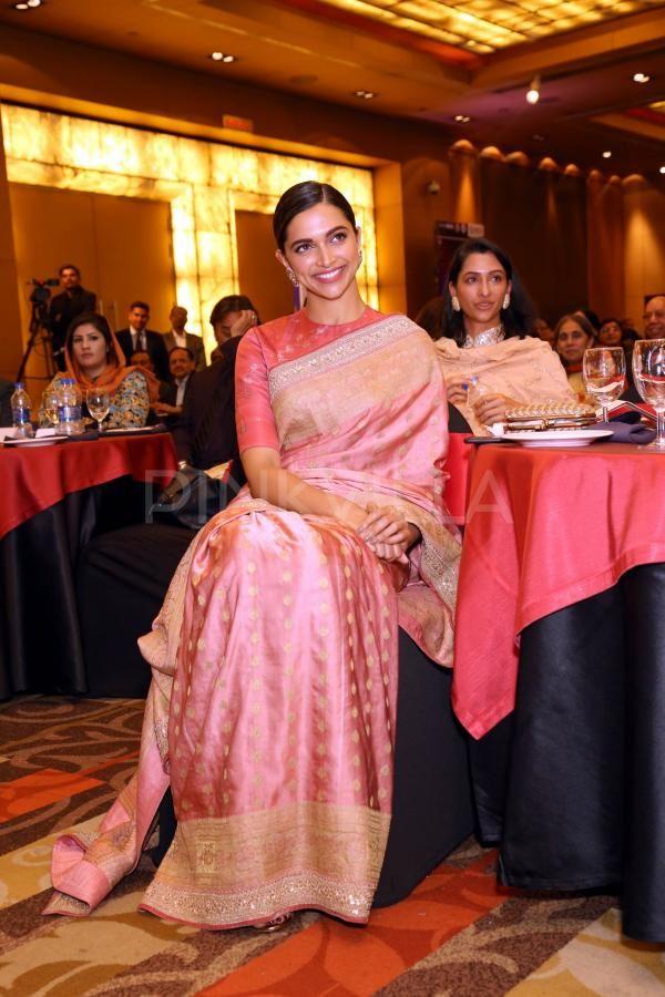 Deepika Padukone beams with pride as dad Prakash Padukone is honored with Lifetime Achievement Award   Indian saree blouses designs, Saree, Indian designer wear