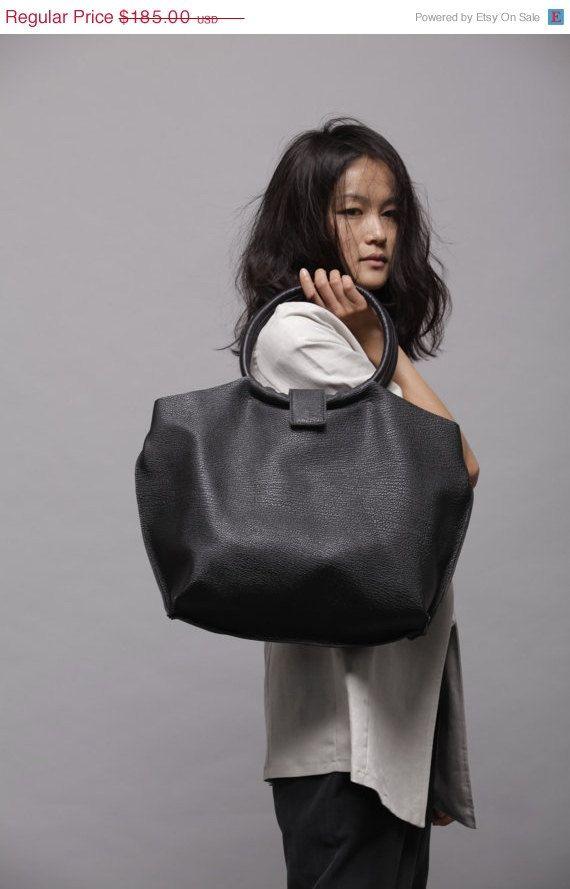 Black leather bag  Soft leather tote bag  Nina by LadyBirdesign, $157.25