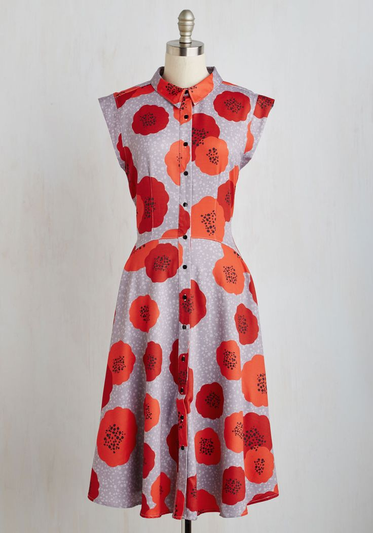 Come on, Get Poppy Dress by Dear Creatures - Multi, Floral, Print, Buttons, Daytime Party, 50s, A-line, Cap Sleeves, Woven, Long
