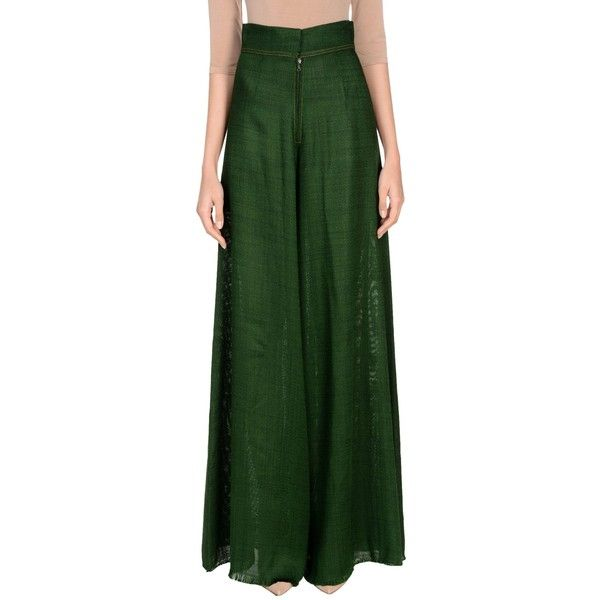 By. Bonnie Young Casual Trouser ($555) ❤ liked on Polyvore featuring pants, green, wide leg pants, green pants, viscose pants, rayon pants and green trousers